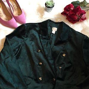 Chico's green velvet double breasted blazer